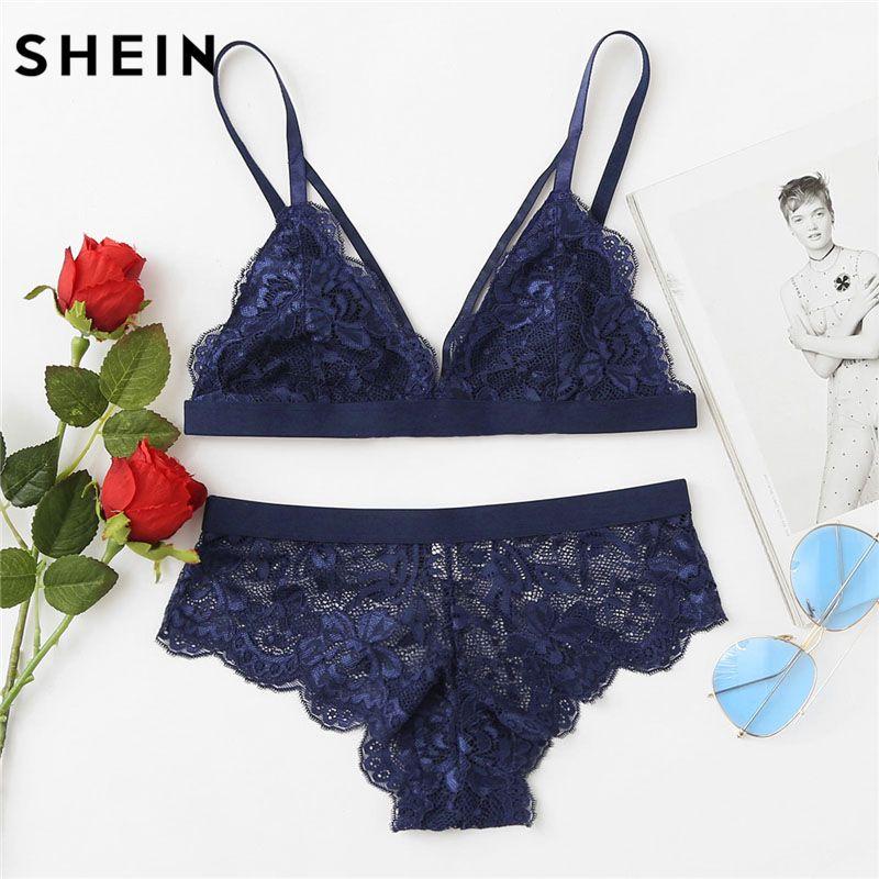 SHEIN Scalloped Edge Harness Bra & Brief Sets Women Blue Sexy Underwear Lingerie Set 2018 Summer Plain Bra & Brief Sets