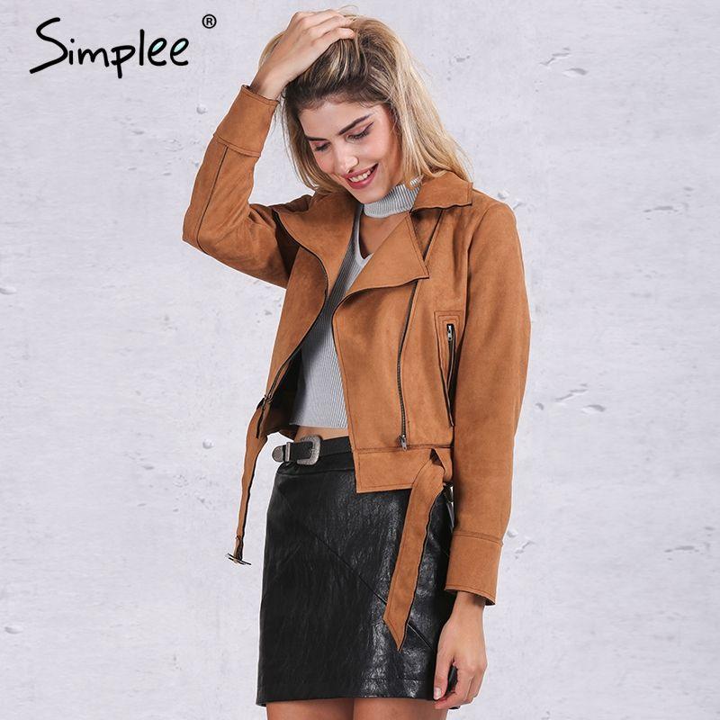 Simplee Apparel Zipper basic suede jacket coat 2016 motorcycle jacket Women outwear Pink belted short winter jackets