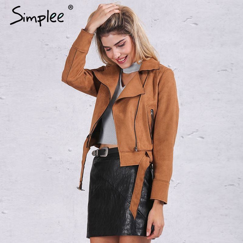 Simplee Apparel Zipper basic suede jacket coat 2016 motorcycle jacket Women outwear Pink belted short winter jackets