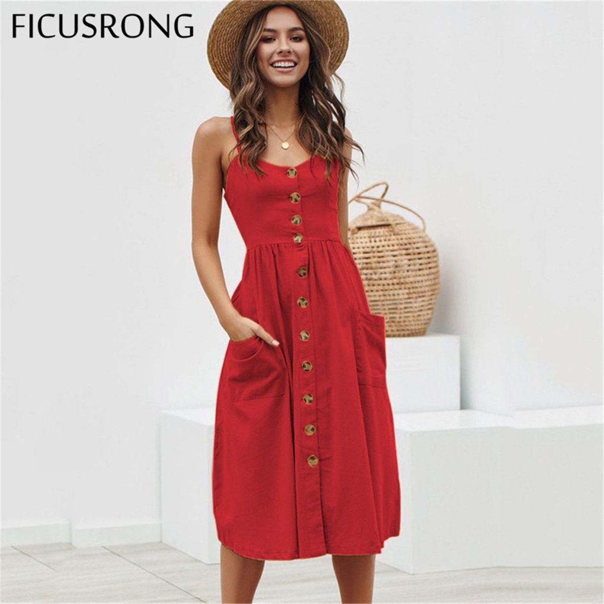 Élégant bouton femmes robe à pois rouge coton robe Midi 2019 été décontracté femme grande taille dame plage robes FICUSRONG