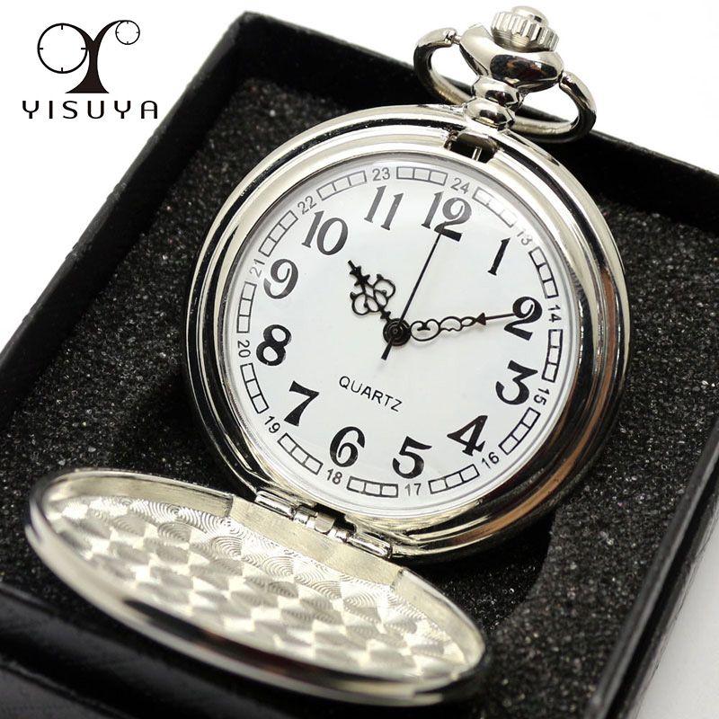 Suave Negro/Caja de Plata Caja de Regalo Mujeres Hombres Cuarzo Reloj de Bolsillo Completa Hunter Fob Reloj relogio Del Reloj Al Por Mayor de bolso