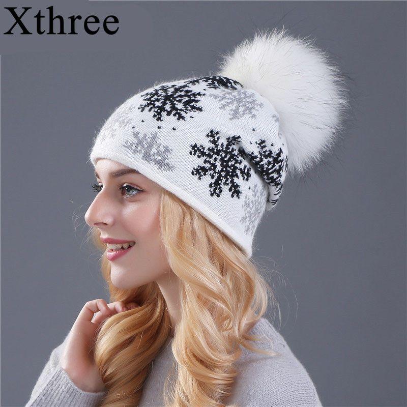 XTHREE real mink pom poms wool rabbit fur knitted hat Skullies winter hat for <font><b>women</b></font> girls hat feminino beanies hat