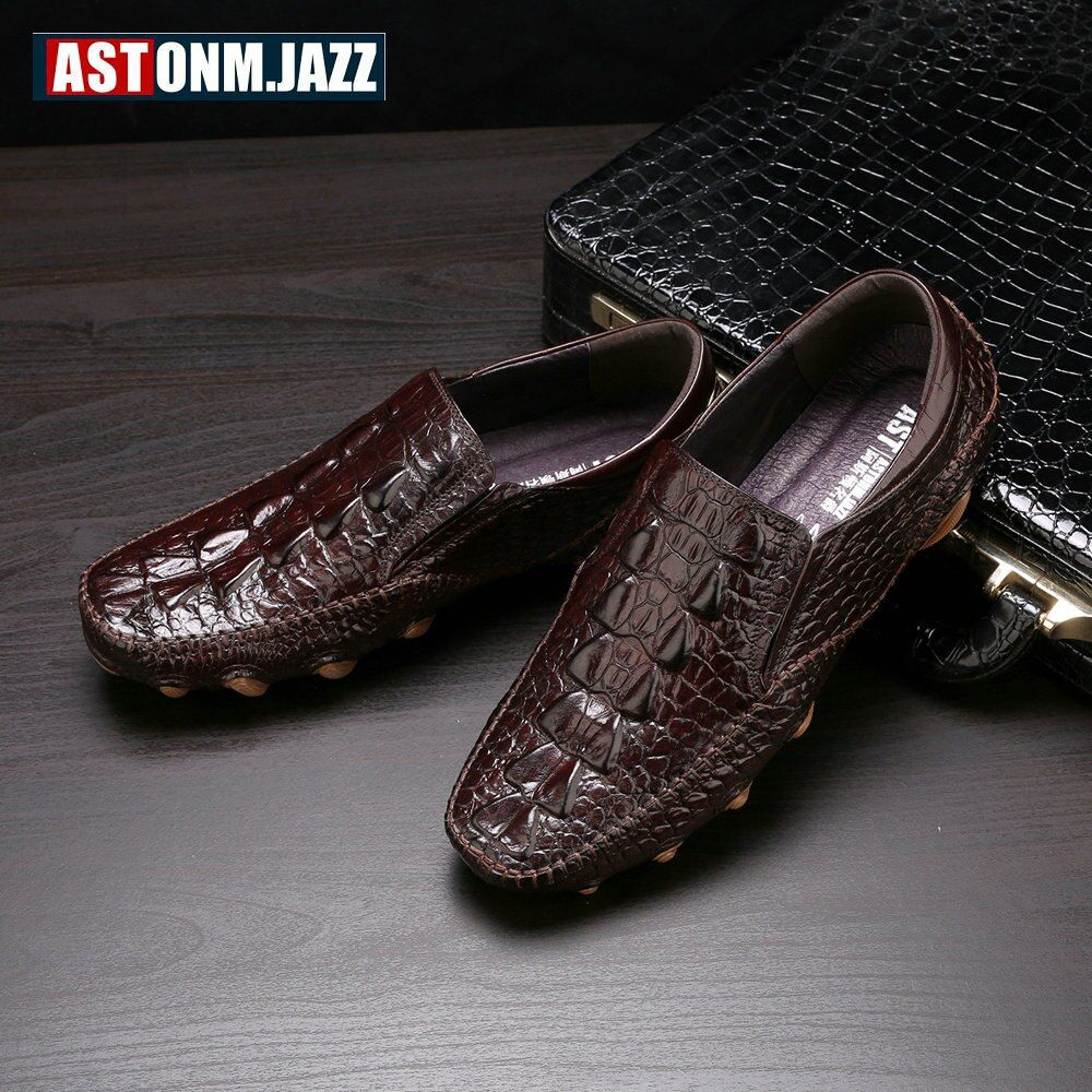 New Men's Octopus Leather Penny Loafers Crocodile Slip On Driving Shoes Mens Casual Shoes Moccasins Business Boat Shoes Branded