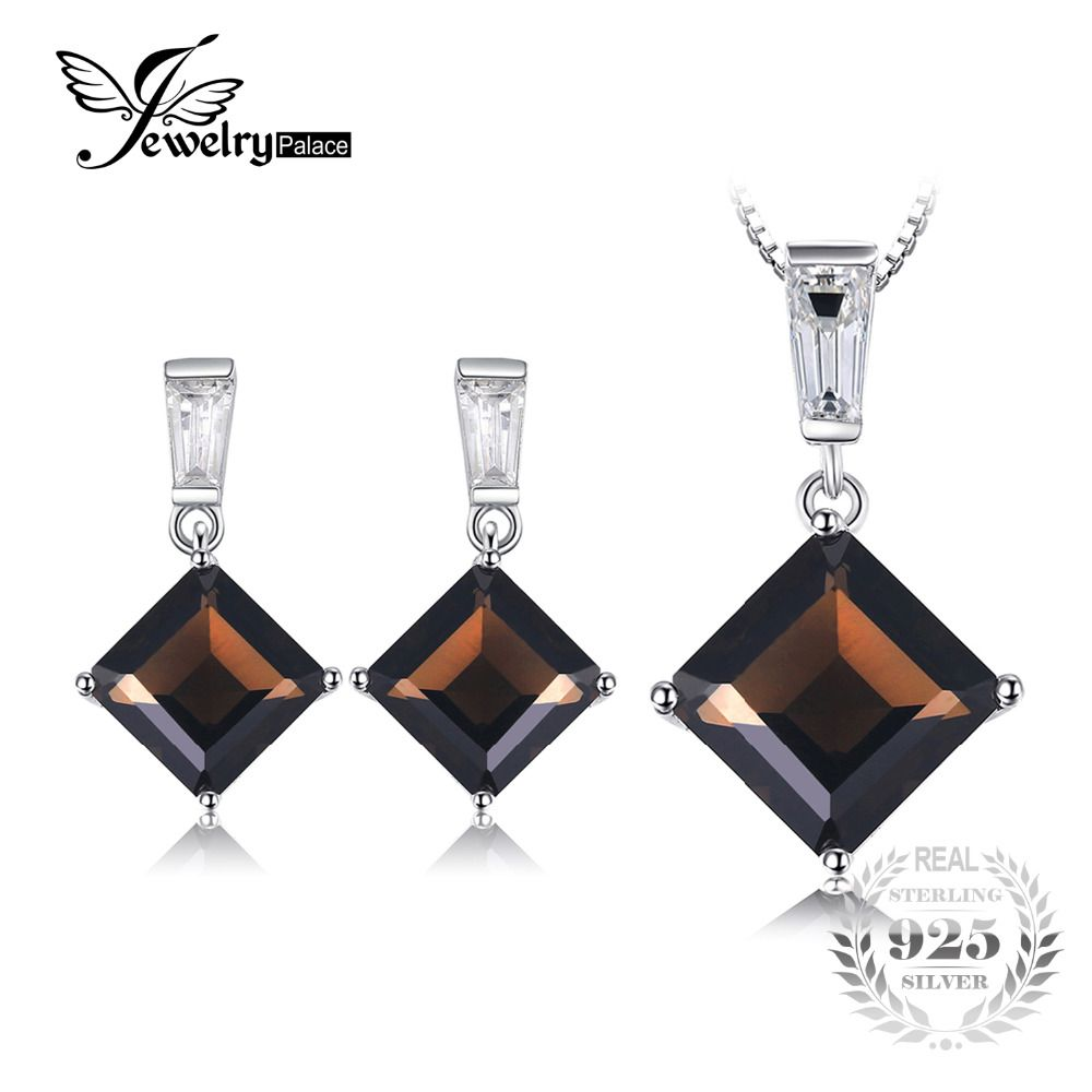 JewelryPalace 7.5ct Genuine Smoky Quartz Pendant Necklace Dangle Earrings 925 Sterling Silver 45cm Chain Jewelry Sets For Women