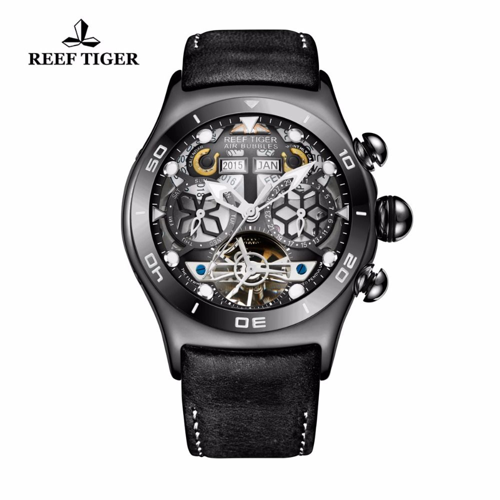 Reef Tiger/RT Mens Sport Watches Skeleton Tourbillon Watches with Year Month Calendar Automatic Watches RGA703