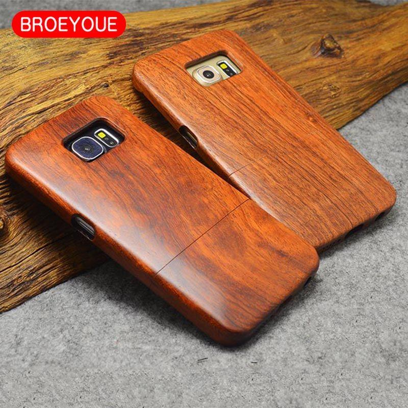BROEYOUE Pour Samsung Galaxy S5 S6 S7 S8 Bord Plus Note 8 5 4 3 100% Rétro Nature Bois Cas Pour iPhone 5 5S 6 6 S 7 8 X Plus couverture
