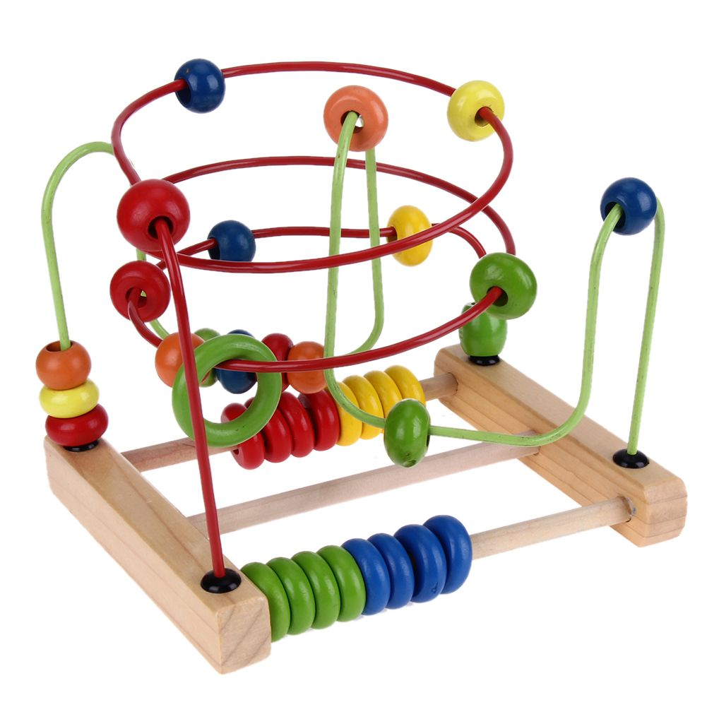Wooden Montessori Toys Counting Circles Bead Abacus Wire Maze Wire Roller Coaster Baby Kids Wood Toy Toys for Children Gift