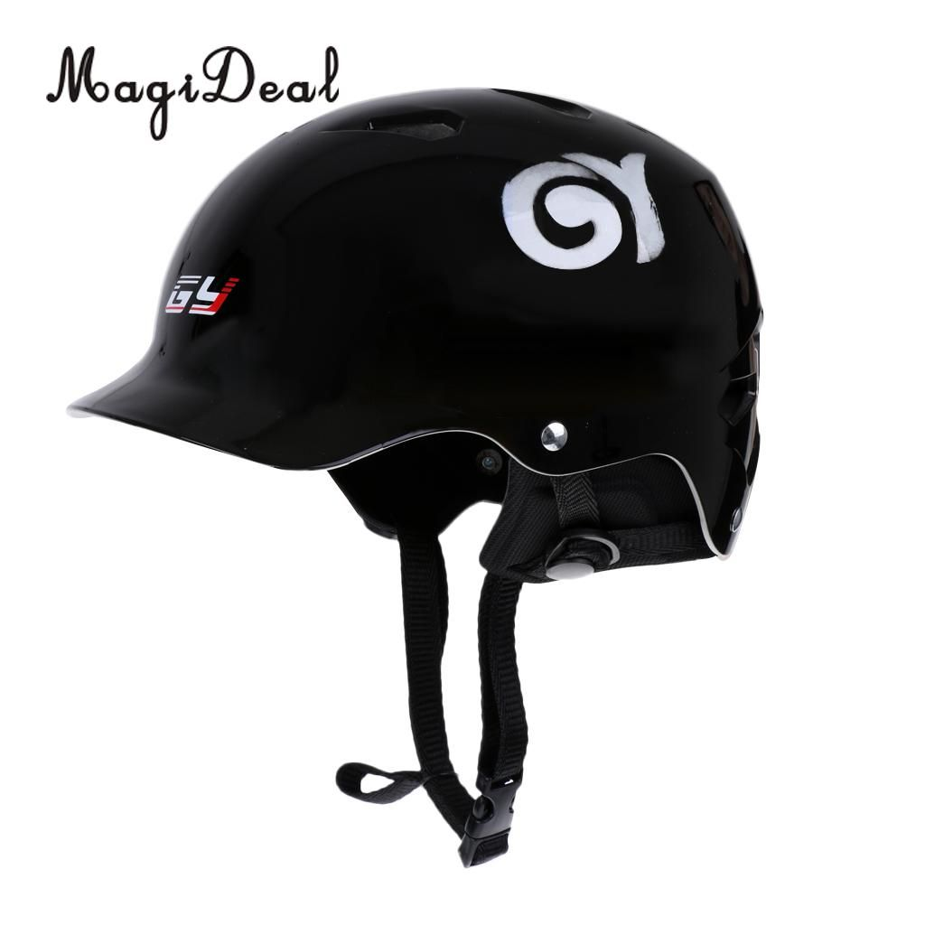 MagiDeal Gloss Black Safety Helmet for Water Sport Canoeing Kayaking Wakeboarding Rafting Boating S/M/L Riding Protection Acce