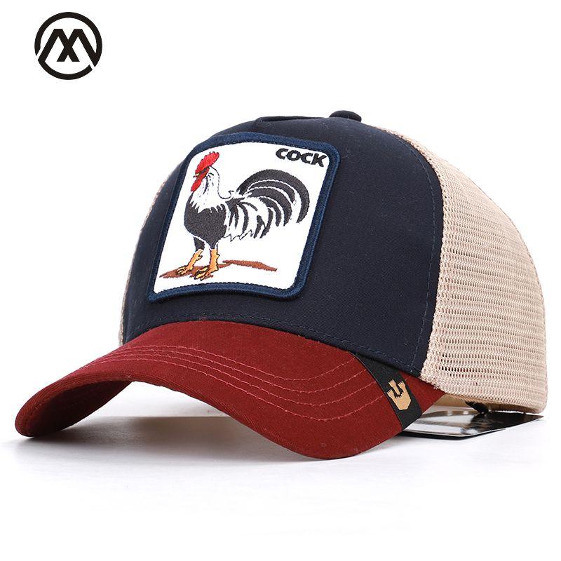 Été Animal broderie casquettes de Baseball hommes et femmes universel réglable ombre coq maille casquette papa chapeau camion pilote chapeaux os