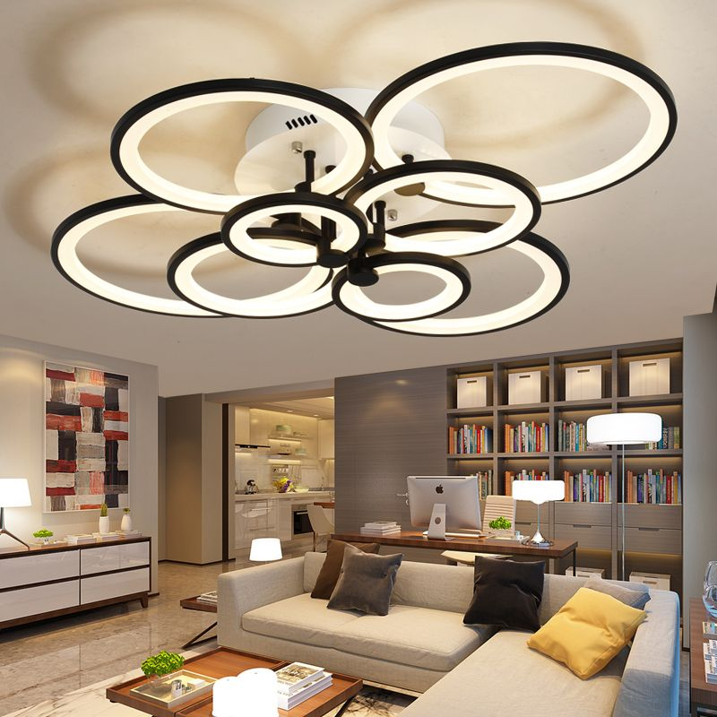 Dimming+Remote control living study room bedroom <font><b>modern</b></font> led chandelier white or Black surface mounted led chandelier fixtures