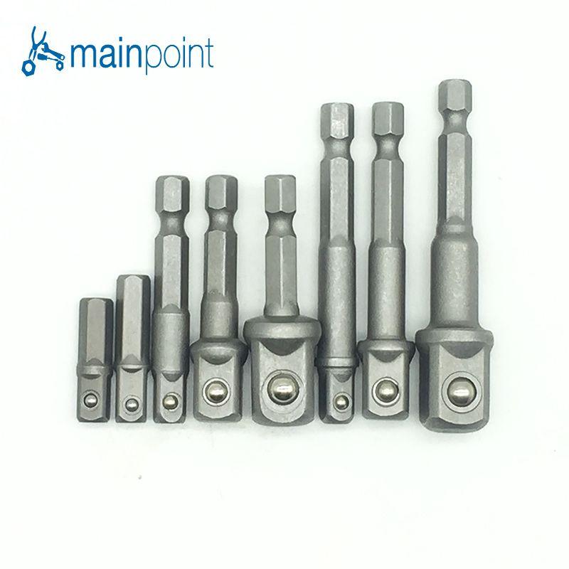 Mainpoint 8 stücke Innensechskant Fahrer 1/4 3/8 1/2 (25mm & 65mm) Elektrische schraubendreher Kopf Anschluss Rrod Schaft Bohrfutter Hülse Werkzeug