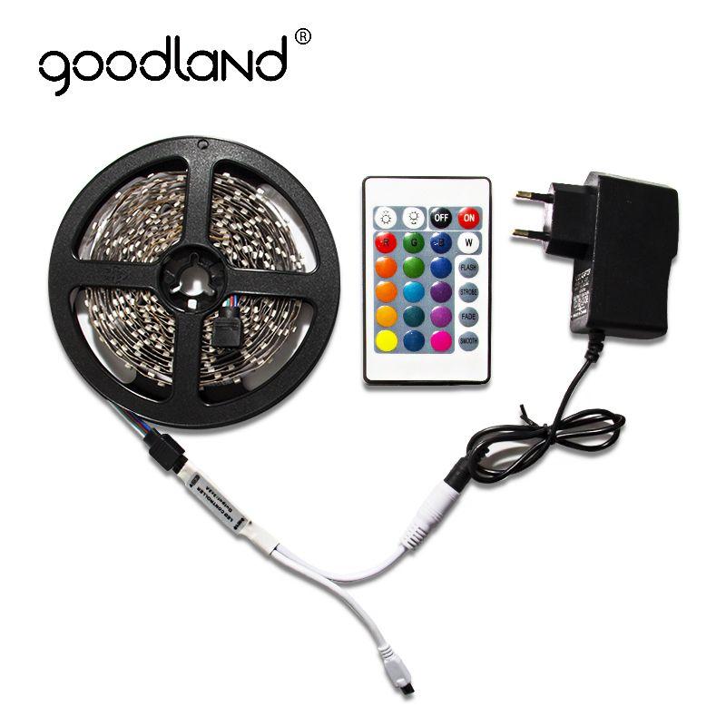 Goodland RGB LED Bande Lumière 2835 SMD 5 m 60 Leds/m Comprennent Batterie IR À Distance Contrôleur 12 v 2A Puissance Adaptateur LED Bande