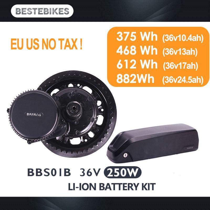 Bafang motor BBS01B BBS01 250 W electric bike conversion kit batterie velo batterie 36 V 10,4/13/17 /24.5ah mitte antrieb motor