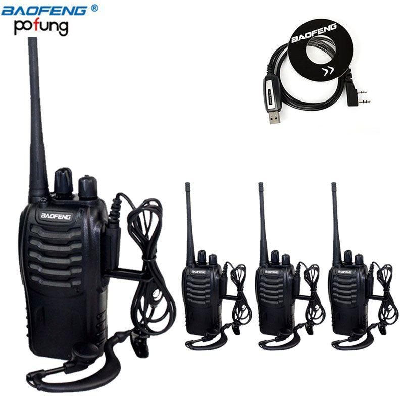 4 pièces Baofeng BF-888S Talkie Walkie UHF à Deux Voies Radio BF888S De Poche CB appareil de Radio 888 S Comunicador Émetteur Émetteur-Récepteur et câble