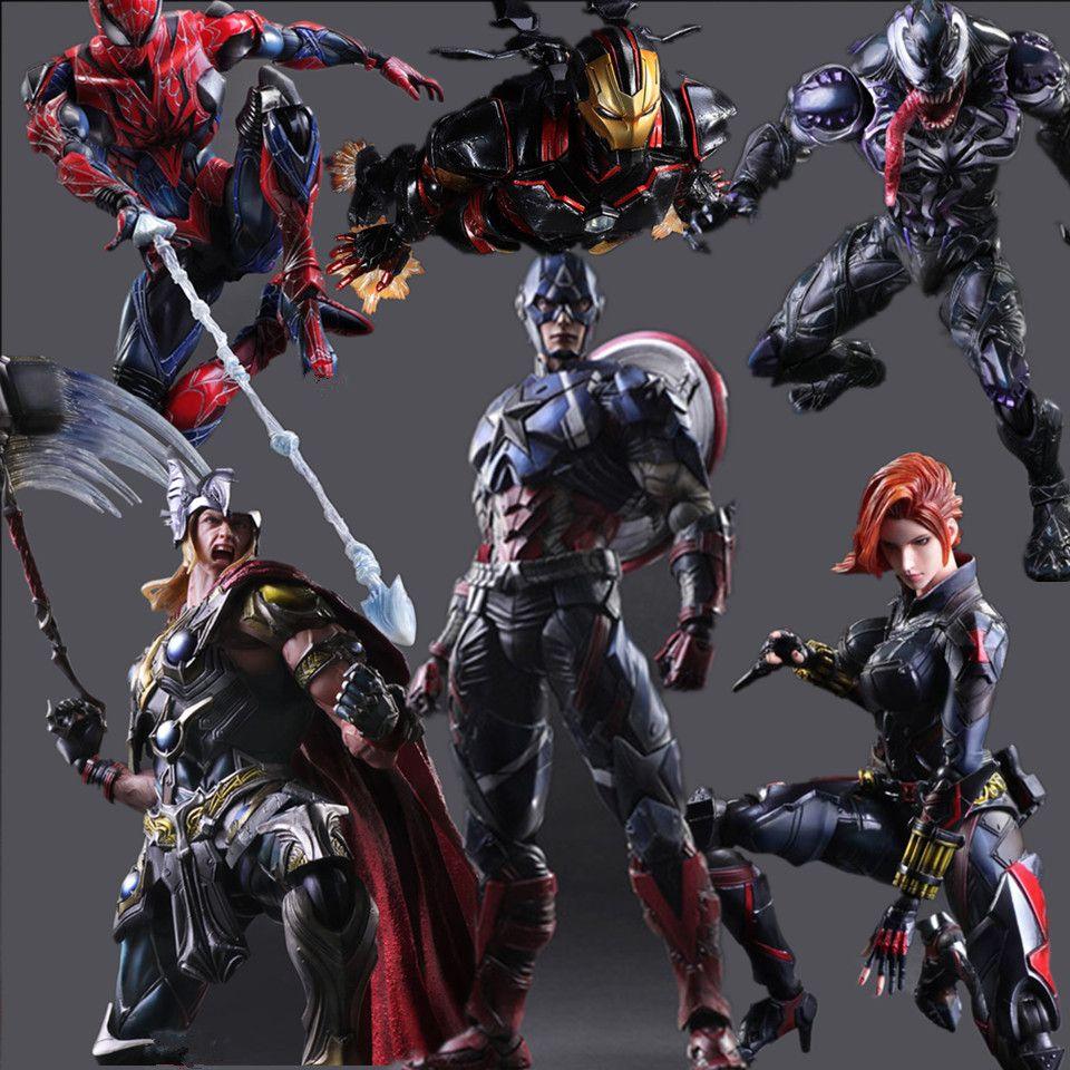 Super-héros jouer Arts Kai figurine Spiderman Iron Man Vemon Thor Captain America modèle de collection jouet Anime Avenger Playarts