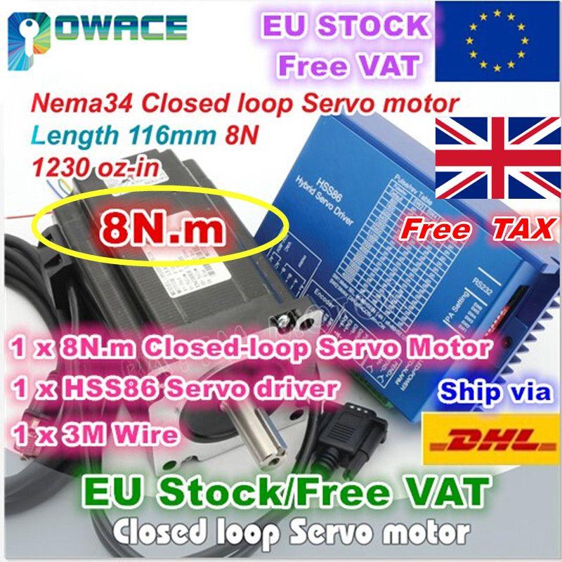 [EU/UNS Lieferung/Freies MEHRWERTSTEUER] Nema34 8N. m 116mm Geschlossen-Schleife Servo Motor 6A & 2HSS86H Hybrid Fahrer Controller 8A für CNC Router