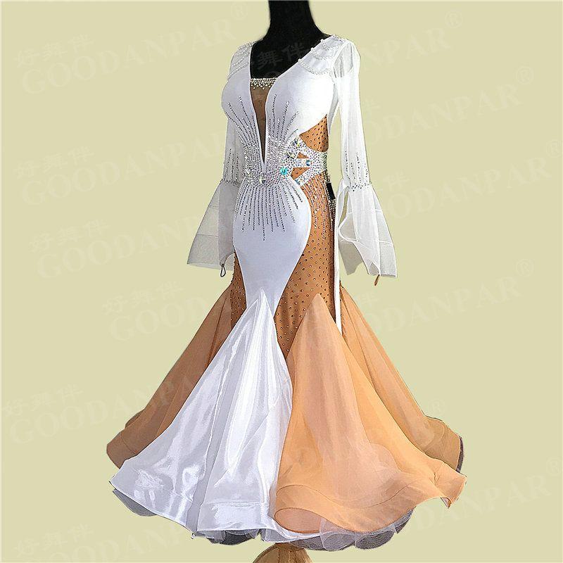 GOODANPAR Backless Lycra Organza Ballroom Dance Competition Dresses Women Ladies with bodysuit bra cup Waltz Standard Dance Wear