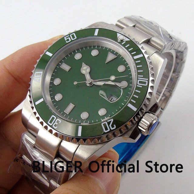 Sapphire Kristall BLIGER 40mm Grün Zifferblatt Keramik Lünette Luminous Marks Datum MIYOTA Automatische Bewegung Männer der Armbanduhr B42