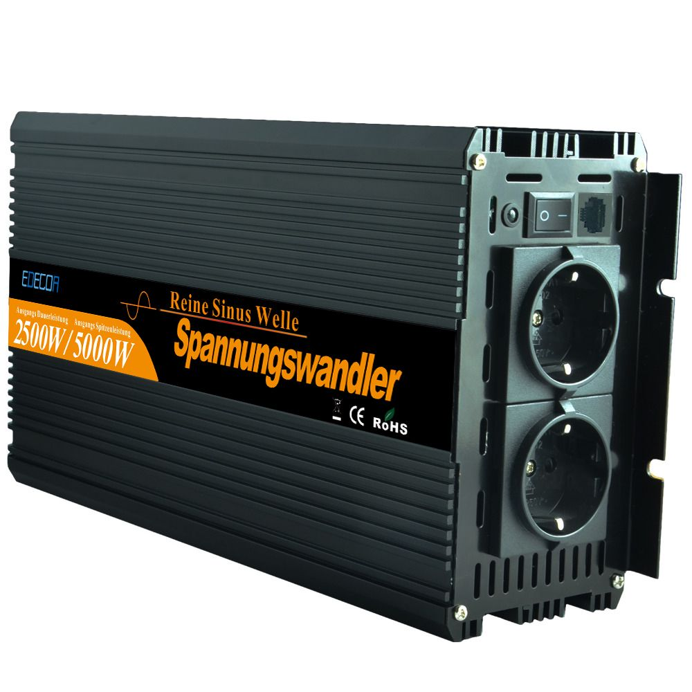 Pure sine wave inverter 2500W DC12V to AC 220V for household appliances-New remote