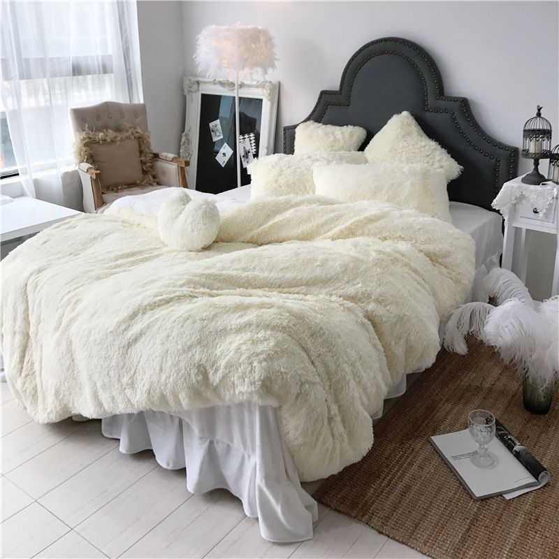 3/4/6/7 pcs Pure Color Mink Velvet Bedding Sets 8 colors lambs wool Fleece Duvet Cover set Bed skirt Fitted Twin Queen King size