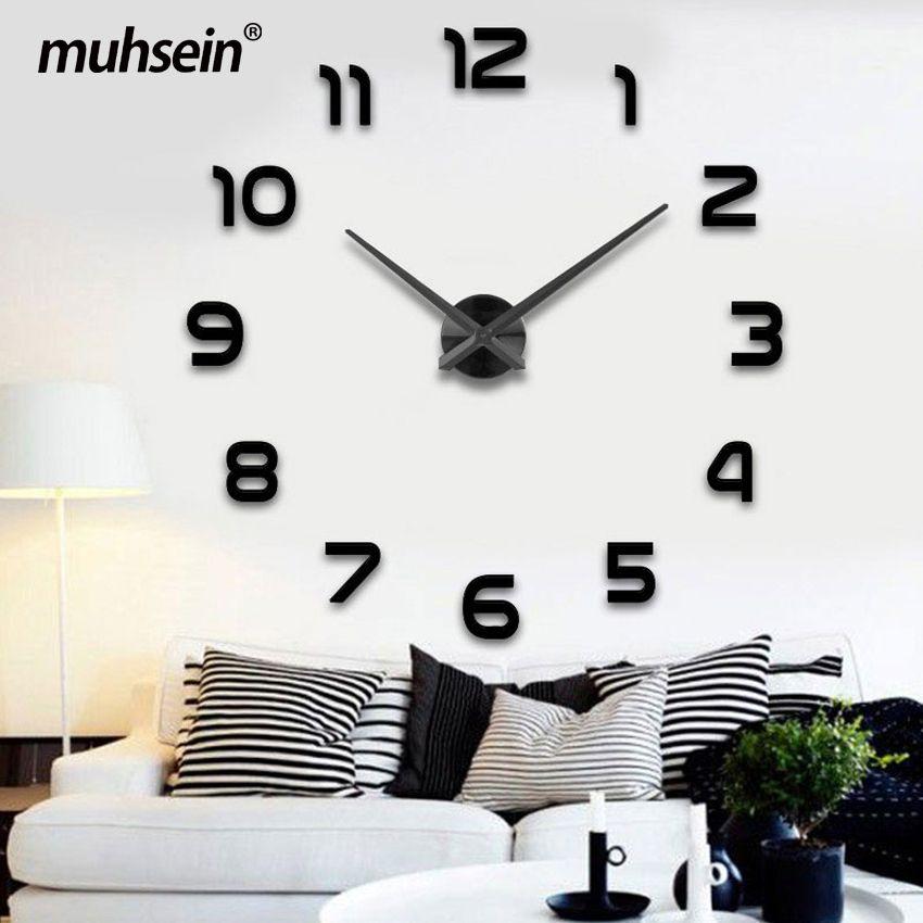 2019 décoration de mariage horloge murale montre muhsein 3D bricolage acrylique miroir Stickers muraux décor salon Quartz aiguille livraison gratuite