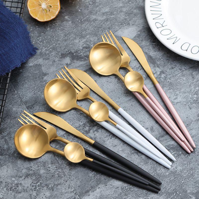 KuBac 24 pièces ensemble de vaisselle en argent doré Double couleur acier inoxydable couteau à dîner fourchette et cuillère à café ensemble de couverts