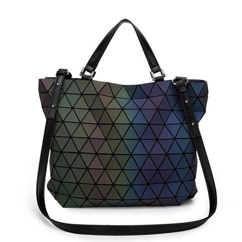 Japan <font><b>luminous</b></font> Bao Women Bags Geometry Laser Folding Women Handbags Casual Tote Ladies Shoulder Messenger Bag Female Purses 2018