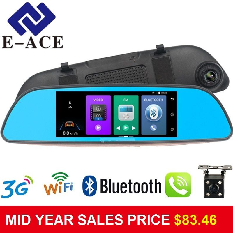 E-ACE 7.0 Inch Android GPS Car Dvr Radar Detector WIFI Bluetooth Automotive Rear View Mirror Camera Dashcam Dual Video Recorder