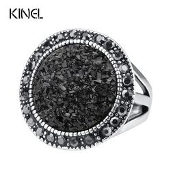 Hot 2015 Fashion Black Broken Stone Accessories Rings For Women Bohemia Silver Plated Jewelry Live To Ride Engagement RingRing