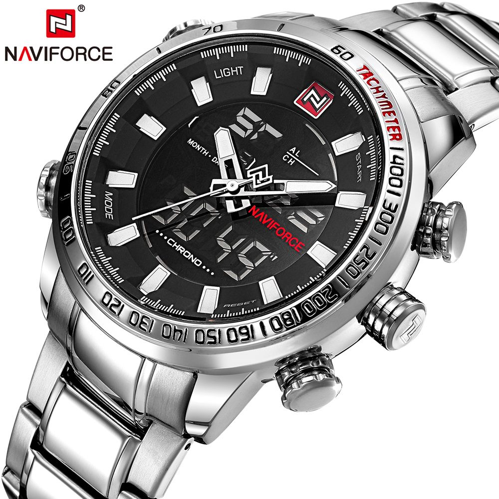 NAVIFORCE Mens Quartz LED Analog Watch Luxury Fashion Sport Wristwatch Waterproof Stainless Male Watches Clock Relogio Masculino