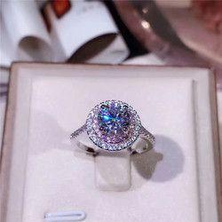 Réel 925 En Argent Sterling Anneaux De Mariage pour les Femmes Rondes Blanc et Rose Cubique Zircone Engagement Beaux Bijoux De Mariée Accessoires