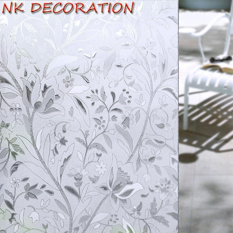 NK 45*100 cm/500 cm Tulipe Statique Givré Verre Fenêtre Film Décoratif Fenêtre Autocollant Art 3D PVC la vie privée Opaque Auto-adhésif Film