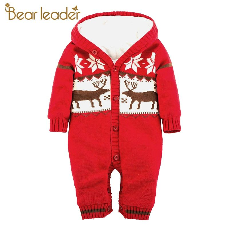 Bear Leader Baby Rompers 2017 New Autumn&Winter Baby Clothing Christmas Elk Pattern Baby Jumpsuit Sweater For 12-24 Month