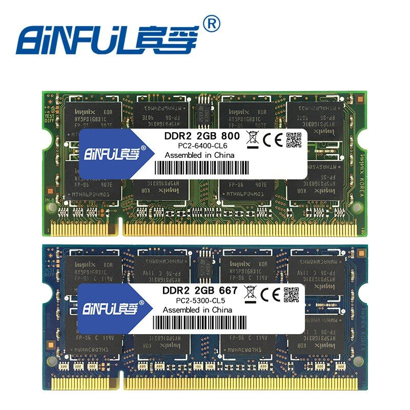 Binful 4 GB (2x2 GB) DDR2 2 GB 800 MHZ 667 MHZ 200pin ordinateur portable mémoire ram 2x double canal PC2-6400 PC2-5300 ordinateur portable SODIMM RAM 1.8 v