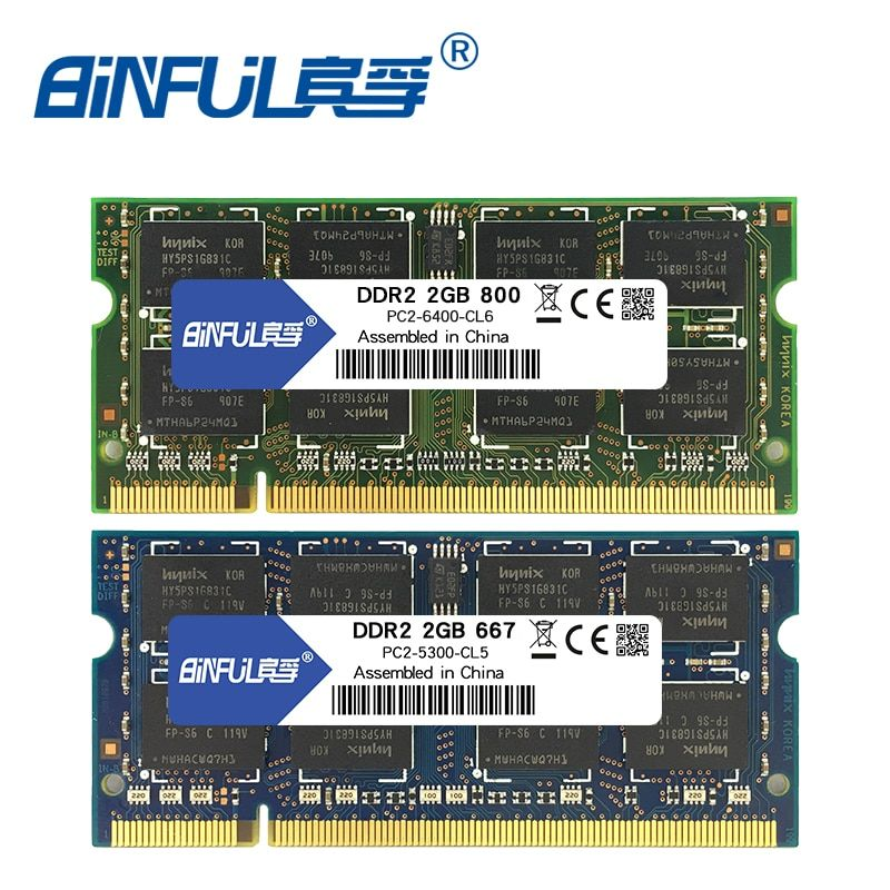 Binful 4GB(2x2GB) DDR2 2GB 800MHZ 667MHZ 200pin Laptop Memory ram 2x Dual-channel PC2-6400 PC2-5300 Notebook SODIMM RAM 1.8v