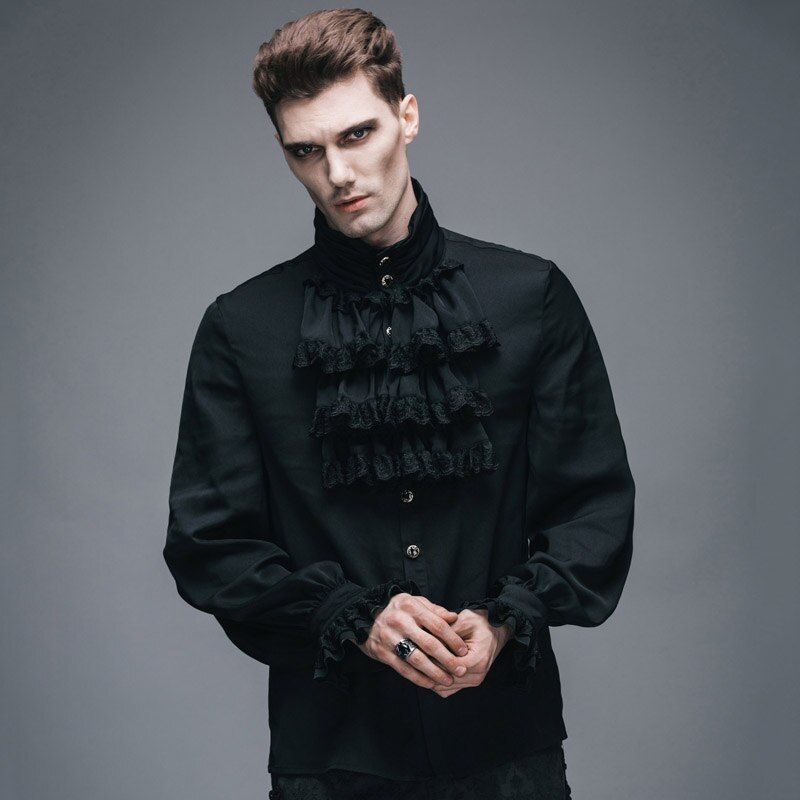 Diablo Moda Gótica Victoriana Flounce Tie Camiseta Punky Negro Blanco Blusas Camisas de Esmoquin con Puños de Encaje De Seda Masculina Top