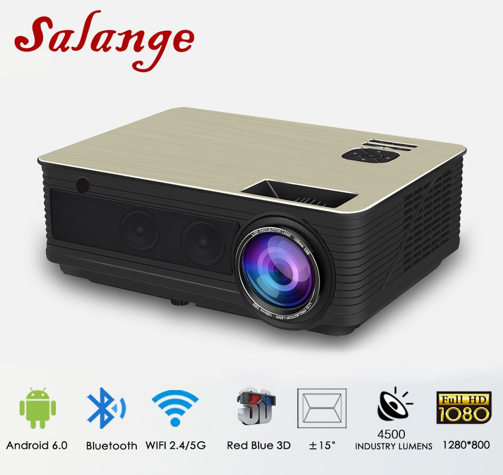 Salange M5 LED Projector 4500 Lumens Android 6.0 Bluetooth WiFi Optional Beamer proyector TV Video Home Theater support 1080P