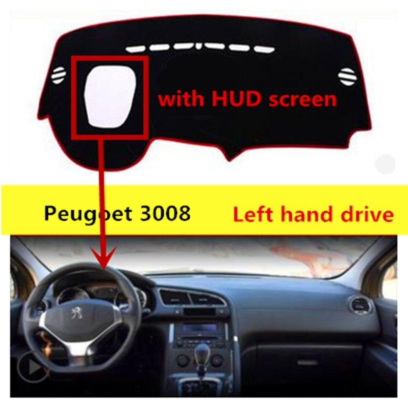 TAIJS car dashboard cover mat for Peugeot 3008 Left hand drive Auto dashboard rug pad for Peugeot 3008
