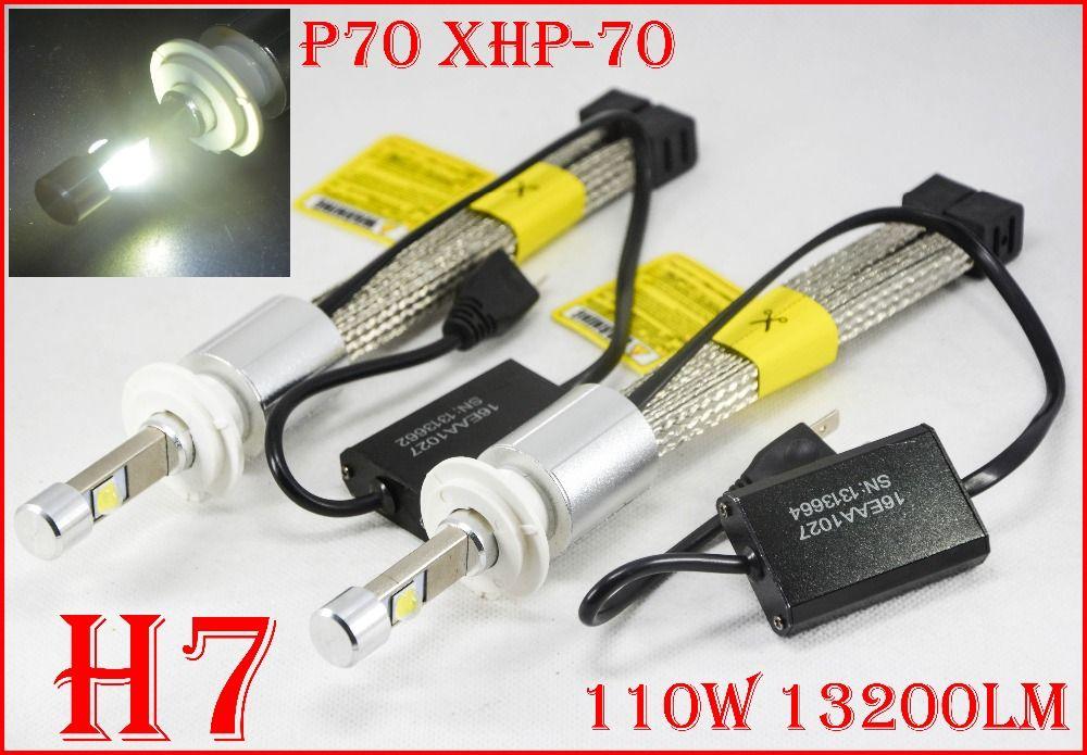 1 satz P70 110 watt 13200LM H7 Auto LED Scheinwerfer Kit XHP70 Chip Fanless Super Weiß 6000 karat Fahren Nebel lampe Birne H4 H8 H11 9005/6 9012