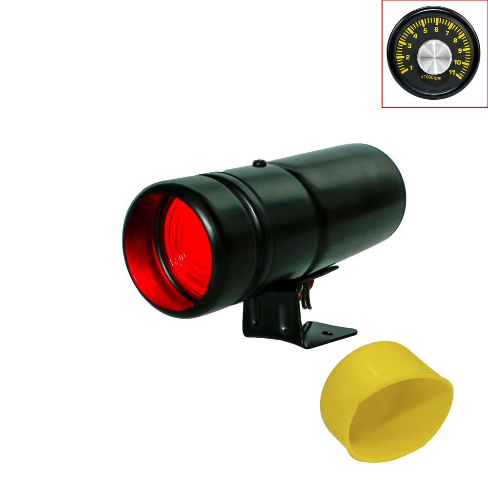 CNSPEED Auto 1000-11000RPM Tachometer Gauge Shift Light Red Lamp Adjustable Car Tachometer Meter Warning With Yellow Gauge Cover