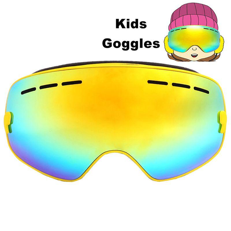 Детские лыжные очки с двойными линзами УФ 400 Анти-Туман Лыжные Очки снег Лыжный Спорт сноуборд скейтборд очки для мальчиков и девочек подрос...