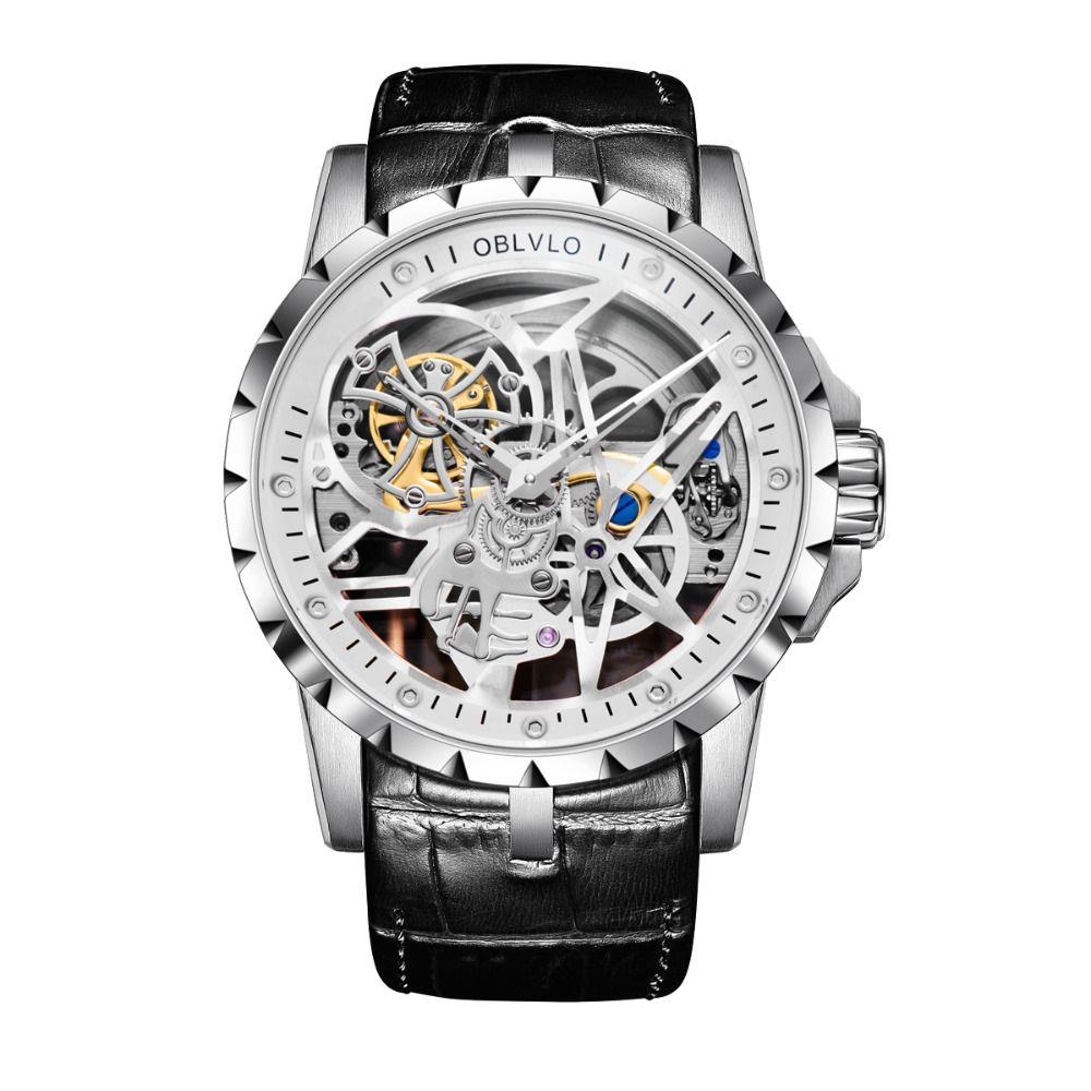 OBLVLO Luxus Öffnen Arbeit Design Herren Uhren Skeleton Zifferblatt Kalbsleder Strap Uhr Automatische Bewegung Wasserdicht Montre Homme RM-1