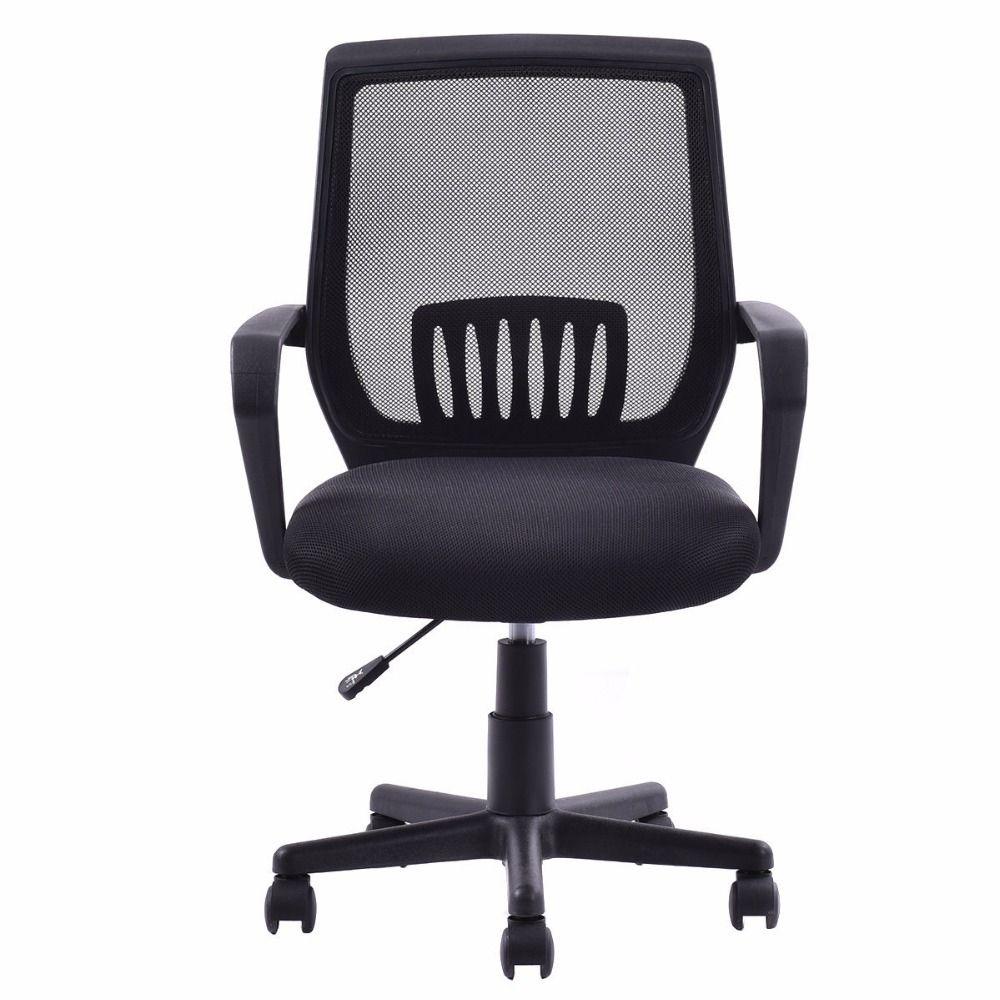 Goplus Modern Ergonomic Office Chair Mid-back Mesh Computer Desk Task Black Swivel Lift Executive Chair Furniture HW56364