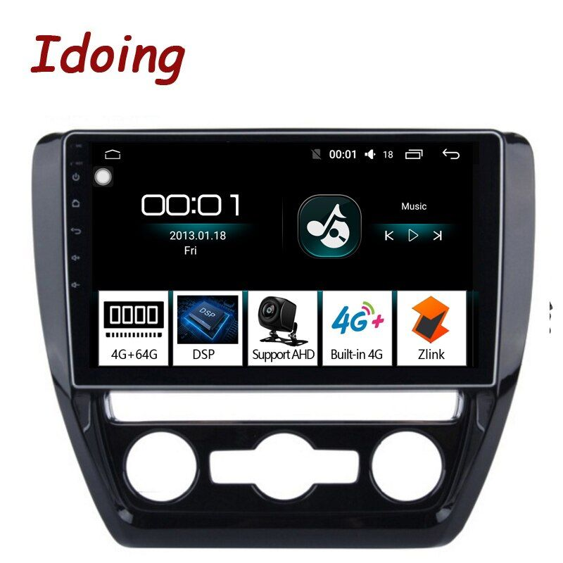 Idoing 10,2 4G + 64G Octa Core Auto Android8.1 Radio Vedio Multimedia Player Fit VOLKSWAGE 2011- 2015 2.5D IPS DSP GPS Navigation