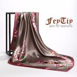 Mode Carré Foulard Femmes Vintage Fleur Hijab Foulard De Luxe Marque Echarpes Femme 90*90 cm Châle & Wraps 2018 Nouveau Pour Dames