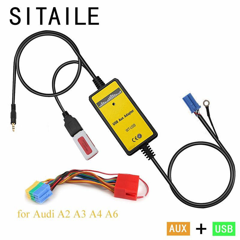 SITAILE car MP3 music CD player Adapter machine change for audi A2 A3 A4 A6 8PIN Interface USB AUX Interface car styling kit