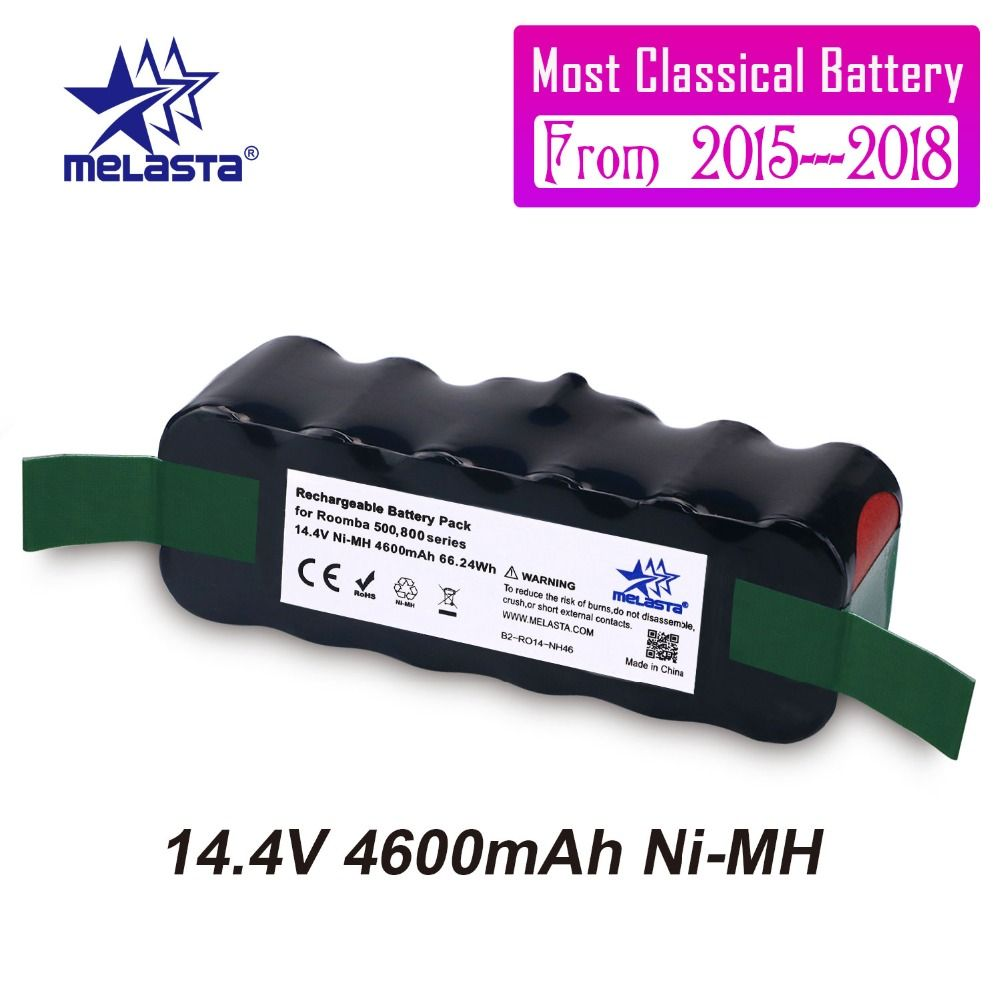 Melasta Classical 4.6Ah 14.4V NIMH battery for iRobot Roomba 500 600 700 800 Series 510 530 550 560 570 610 620 650 760 770 780
