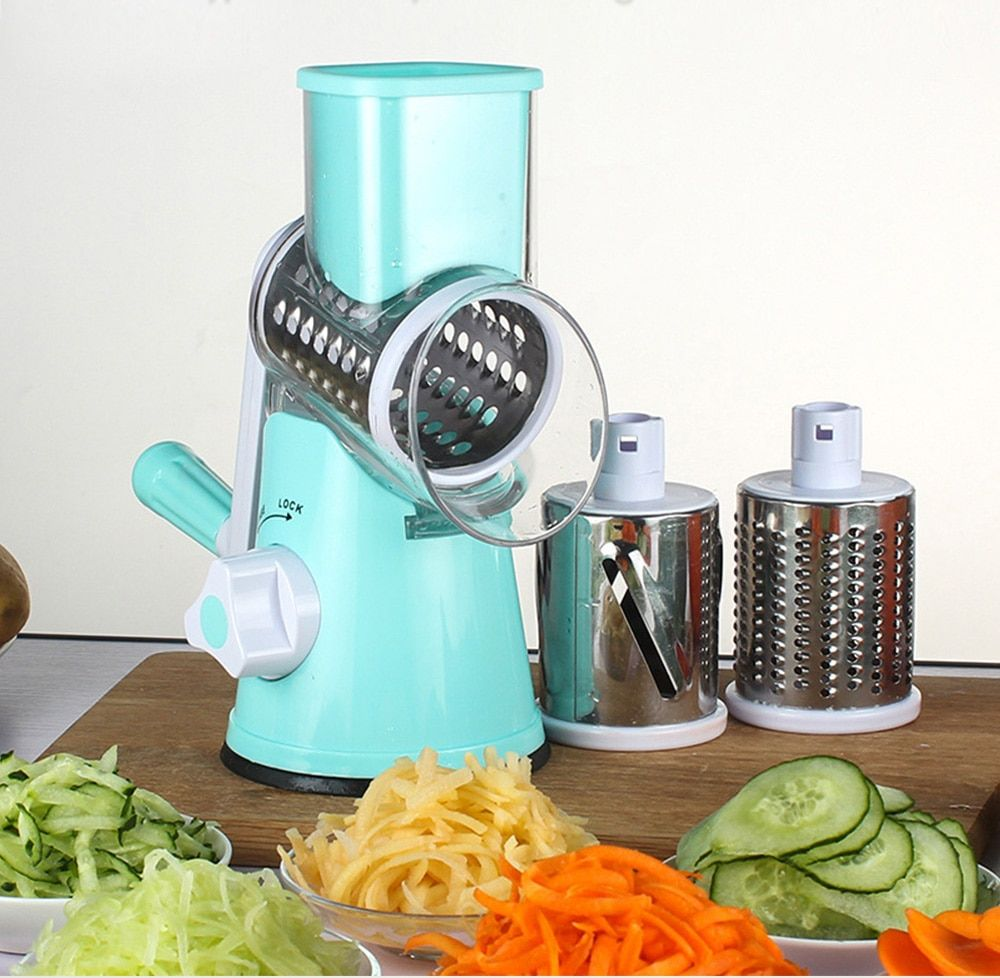 Manual Roller Vegetable Slicer Mandoline Cutter Potato Chopper Carrot Grater Detachable 3 Stainless Steel Blade Non-Slip Base