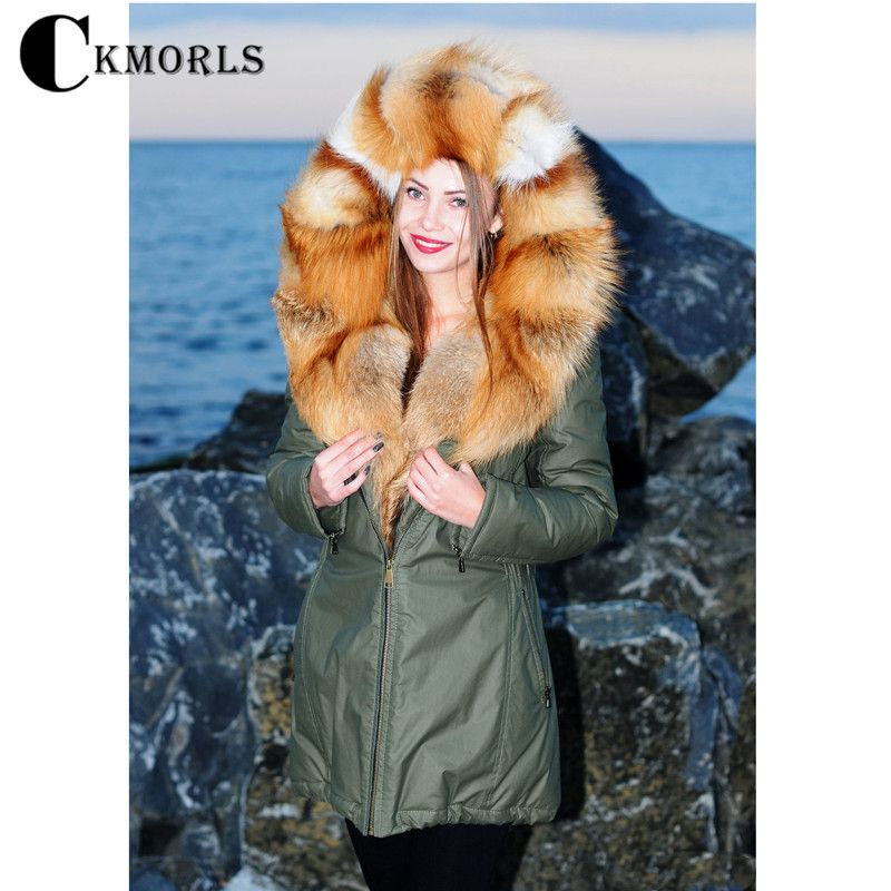 CKMORLS Real Fur Coats For Women Winter Parkas With Big Red Fox Fur Collar Jacket Luxury Fur Outwear Thick Warm Armygreen Parka