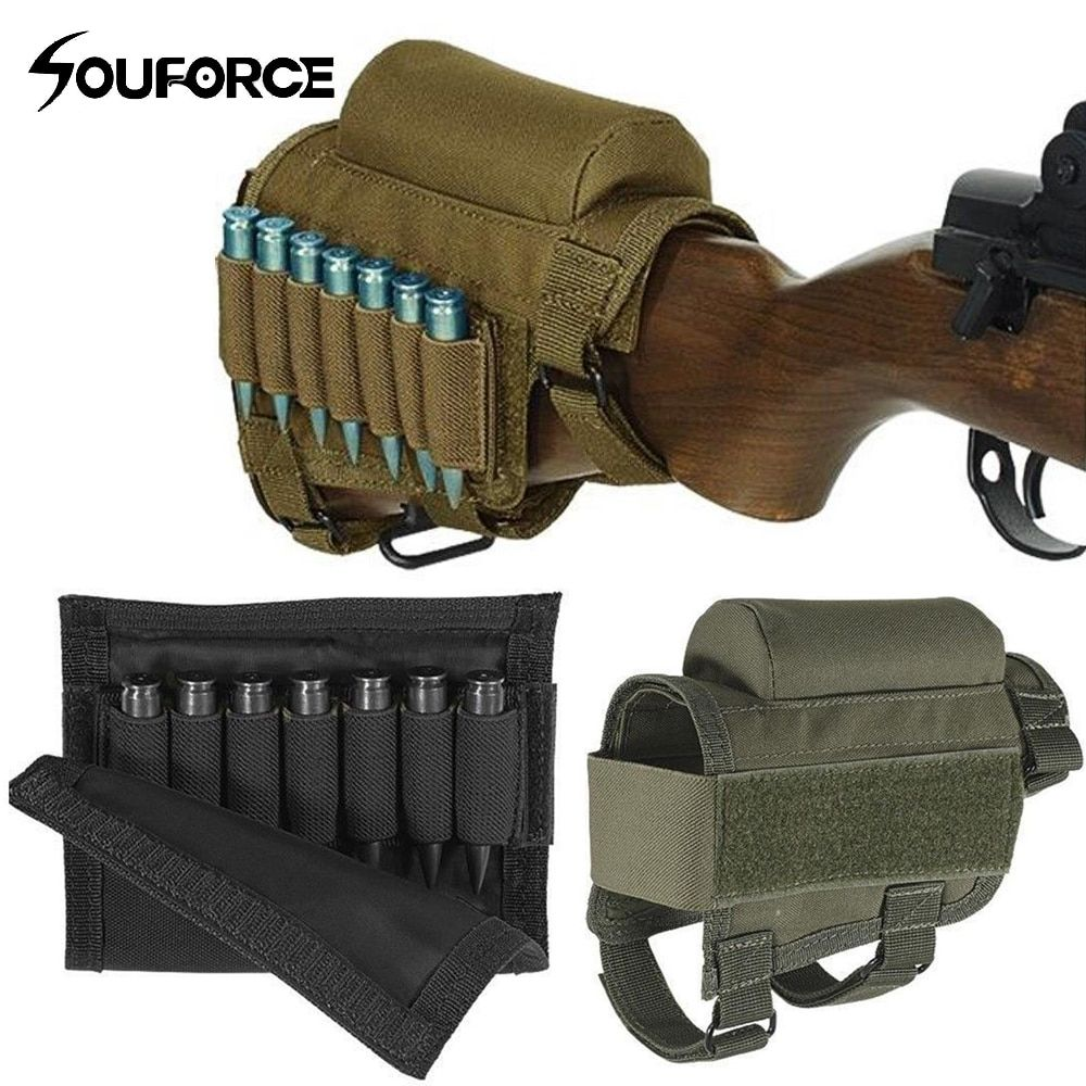 .300 .308 Pouches Portable Adjustable Tactical Butt Stock Rifle Cheek Rest Pouch Holder Pack Bag with Ammo <font><b>Carrier</b></font> Case Holder